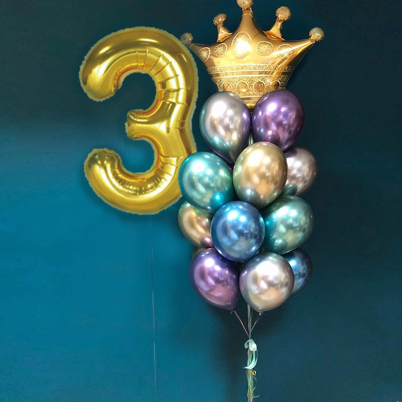 Gold Crown Foil Balloons Birthday Decorations Adult For 18th 1st  Birthday Party Balloon  Prince Princess Baby Cartoon Hat