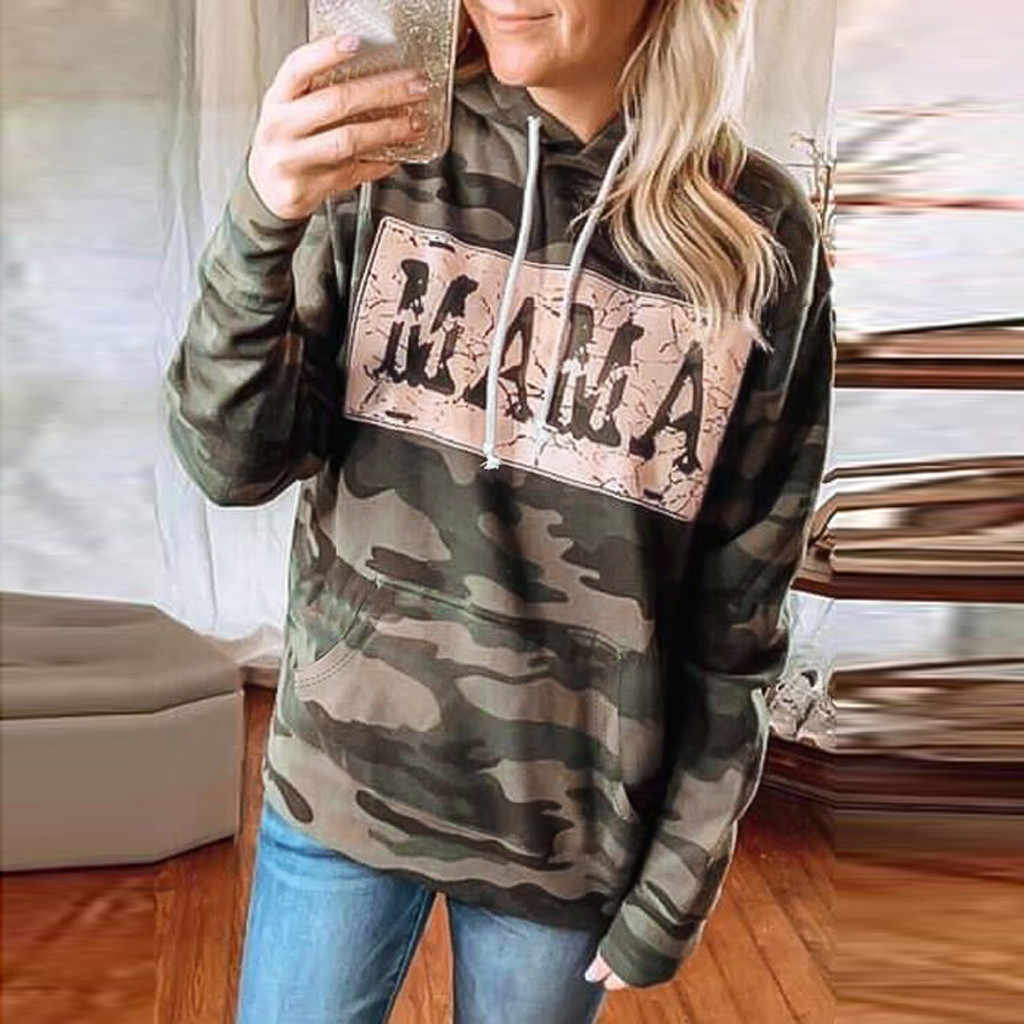 Women Hooded Camouflage Print  Tops Cotton Long Sleeve Plus Size Sweatshir Graphic Tees Harajuku Shirt Camiseta Mujer #j4s