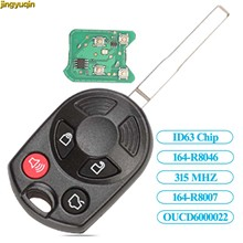 Jingyuqin chave completa do carro remoto 315mhz cy22 para ford escape keyless entrada combo oucd6000022 id63 transponder chip 80bit 4btn