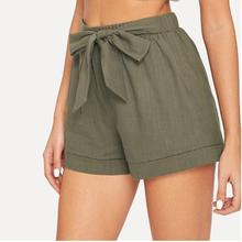 Self Belted Elastic Waist Shorts Fitness Swish Women Army Green Solid Mid Waist Shorts 2019 Fashion Summer Shorts недорого