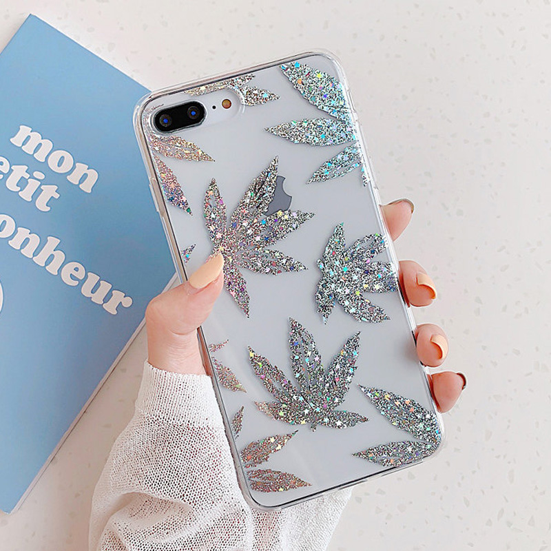 Uslion glitter gold leaf transparent case for iphone 11 pro x xs max xr 8 7 plus 11 clear phone back cover bling pineapple cases