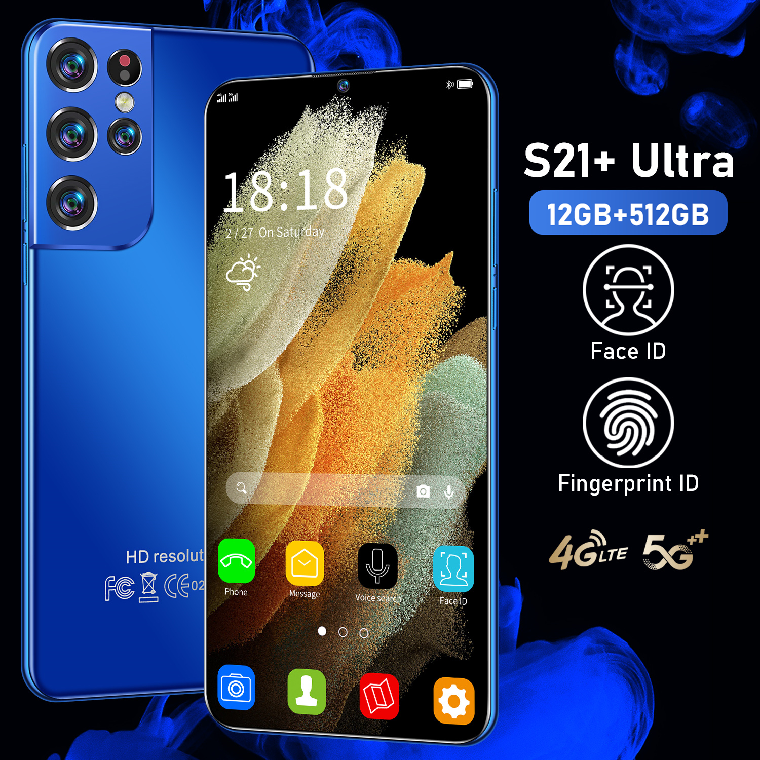 2021 Global Version S21+ Ultra Smartphone 6500mAh 12+512GB 6.7Inch Dual SIM Dual Standby Support Face ID 4G 5G Android CellPhone