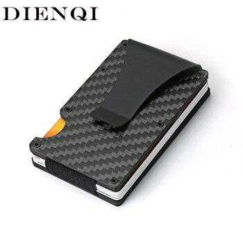 DIENQI Carbon Fiber Credit Card Holder Minimalist Wallet Aluminum Metal Anti RFID Blocking Business Bank id For Men - discount item  59% OFF Wallets & Holders
