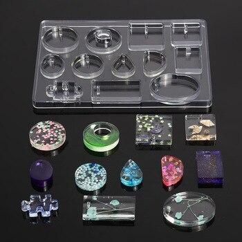 Molde de fundición de silicona para DIY, colgantes de resina para joyería, molde de fundición de silicona de 12 formas, herramientas para arcilla, resina epoxi