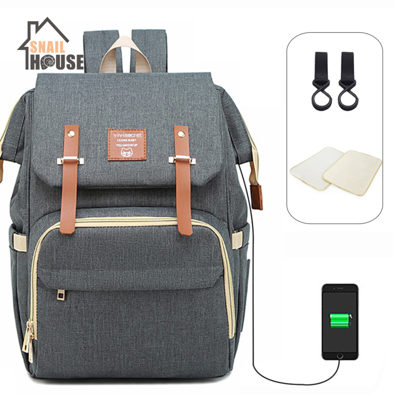 Snailhouse Maternal&child Package Multifunction Mummy Bag With USB Hole Large-capacity Diaper Bags With Waterproof Changing Pad