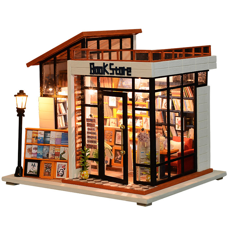 DIY Hut Art House Bookstore Hand-made Mini Small House Toy Assembled Model Assembling Birthday Gift