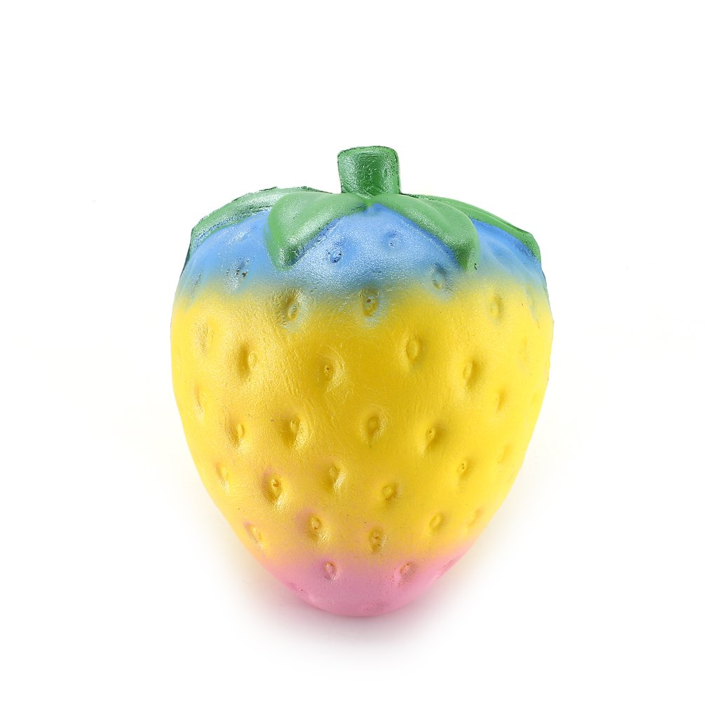 Creative Colorful Strawberry Squishy Slow Rising Toy Soft PU Squeeze Toy Stress Reliever For Children Adults