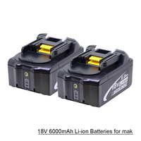 18V 6000mAh BL1860 Lithium ion Replacement Battery with LED Indicator for Mak BL1850 BL1840 BL1830 BL1850 BL1860