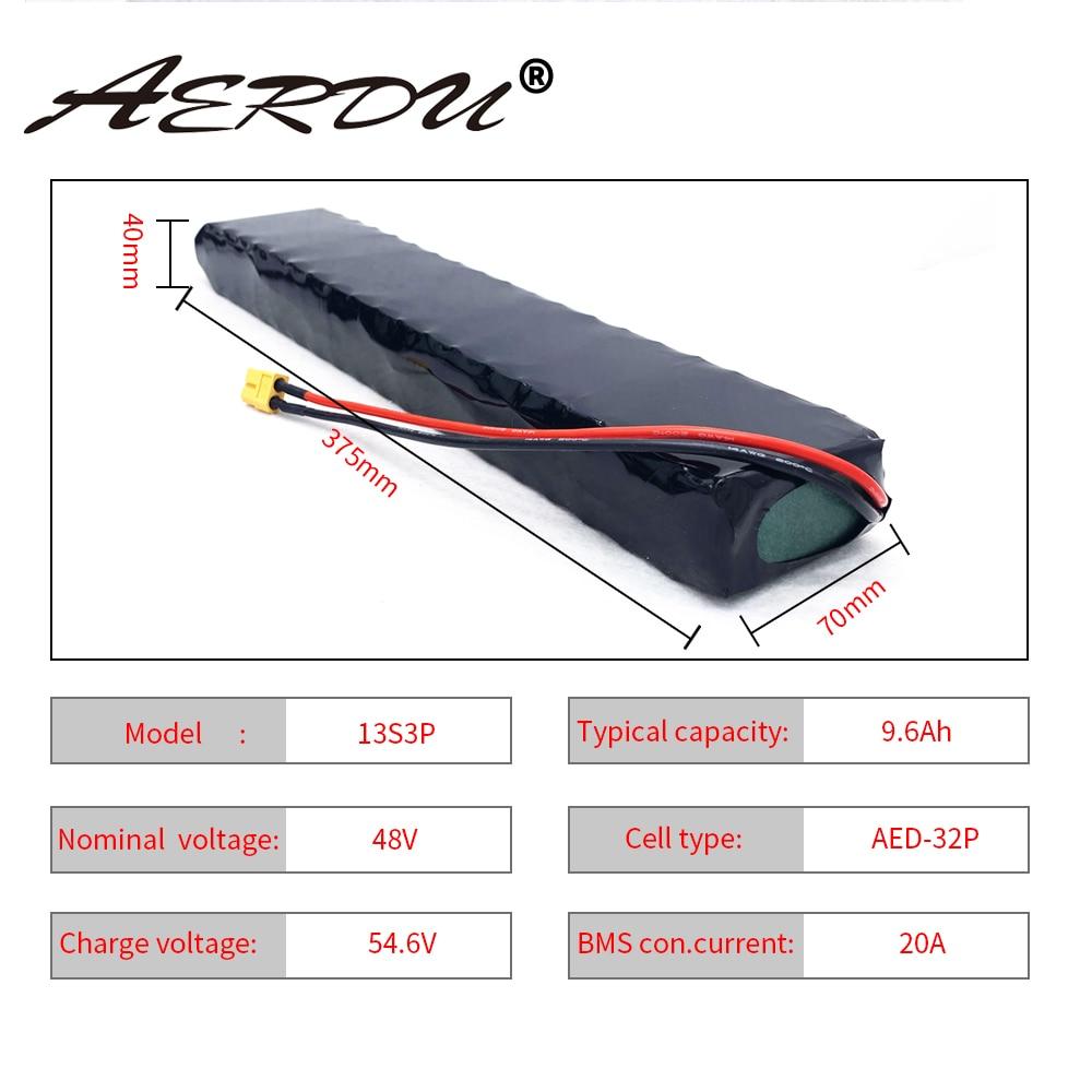 AERDU 48V 9.6Ah 13S3P750Watt комплект литий-ионный батарей 10Ah 9Ah для 4810, фара для электровелосипеда в моторный самокат Xt60 20A общий Порты и разъёмы BMS для ин...