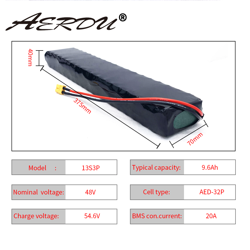 AERDU 48V 9.6Ah 13S3P750Watt 10Ah 9Ah Lithium Ion Battery Pack Para 4810 Ebike Scooter Motor Xt60 20A Porta Comum BMS para cadeira de rodas