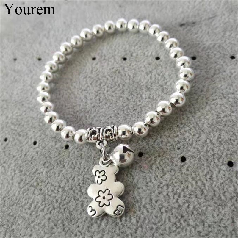 new fashion vintage antique silver color bell bear bracelets for women jewelry vintage ethnic oso charm bracelet accessories(China)