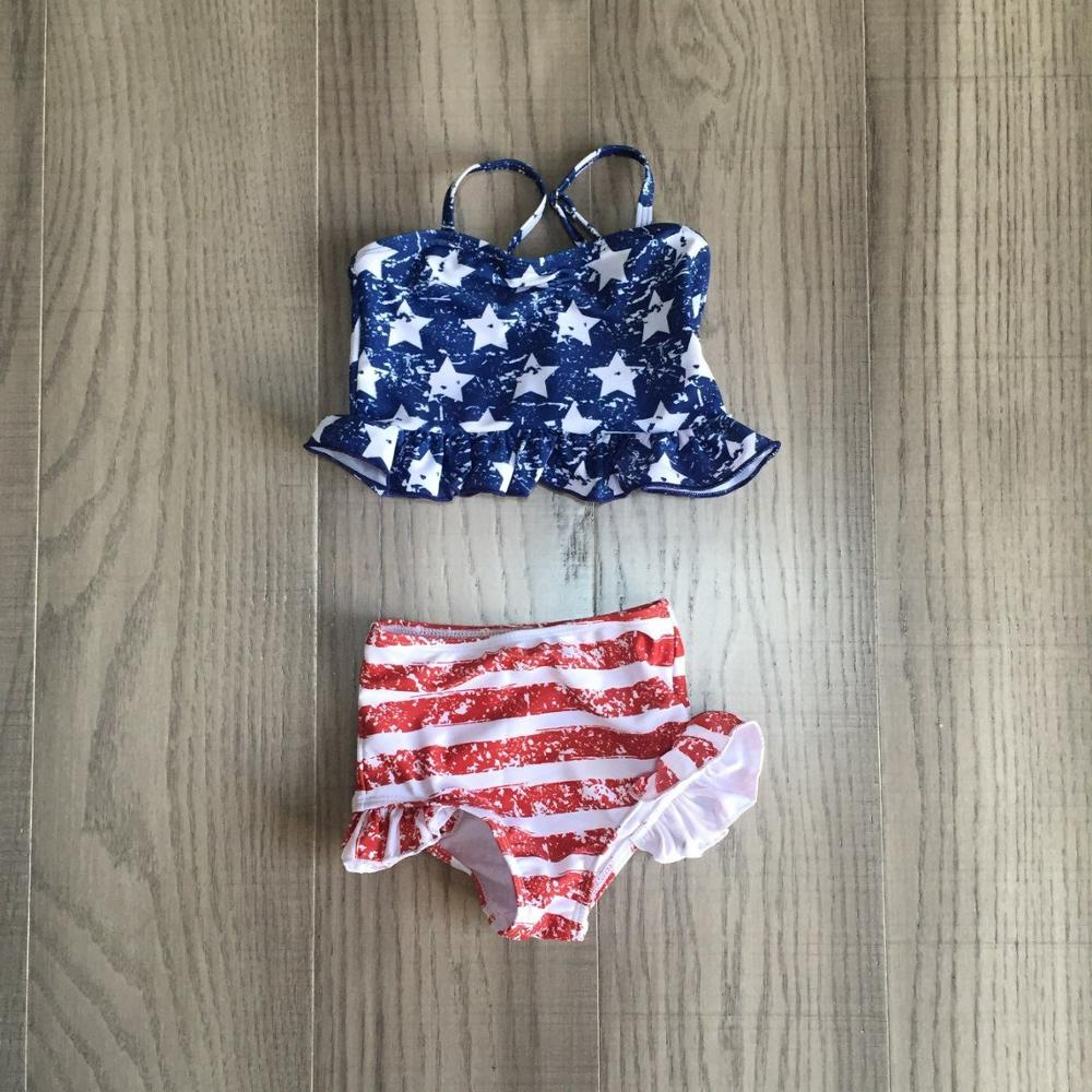 Baby Girls July 4th Swimsuit Baby Girl US Flag Print Bathing Suit
