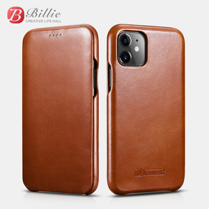 Image 1 - Original ICARER Genuine Leather Case For iPhone 11 Luxury Flip Cover Case For Apple iPhone 11 Curved Edge Vintage Folio Case