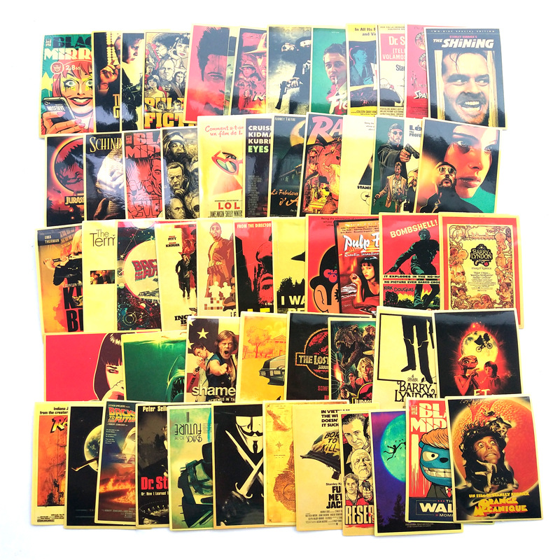 54pcs Classic Movie Stickers For Luggage Laptop Art Painting Kill Bill Pulp Fiction Poster Stickers Waterproof Skateboard Toy F3