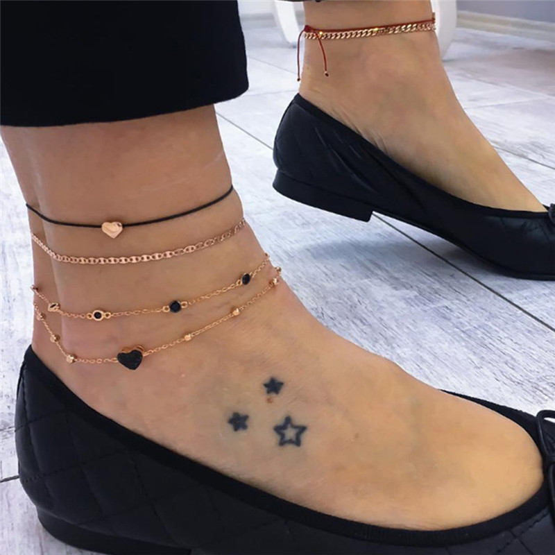 1 Set Creative Anklet Animal Heart Star Rhinestone Gold Color On Foot Ankle Bracelets For Fashion Women Leg Jewelry 22cm long