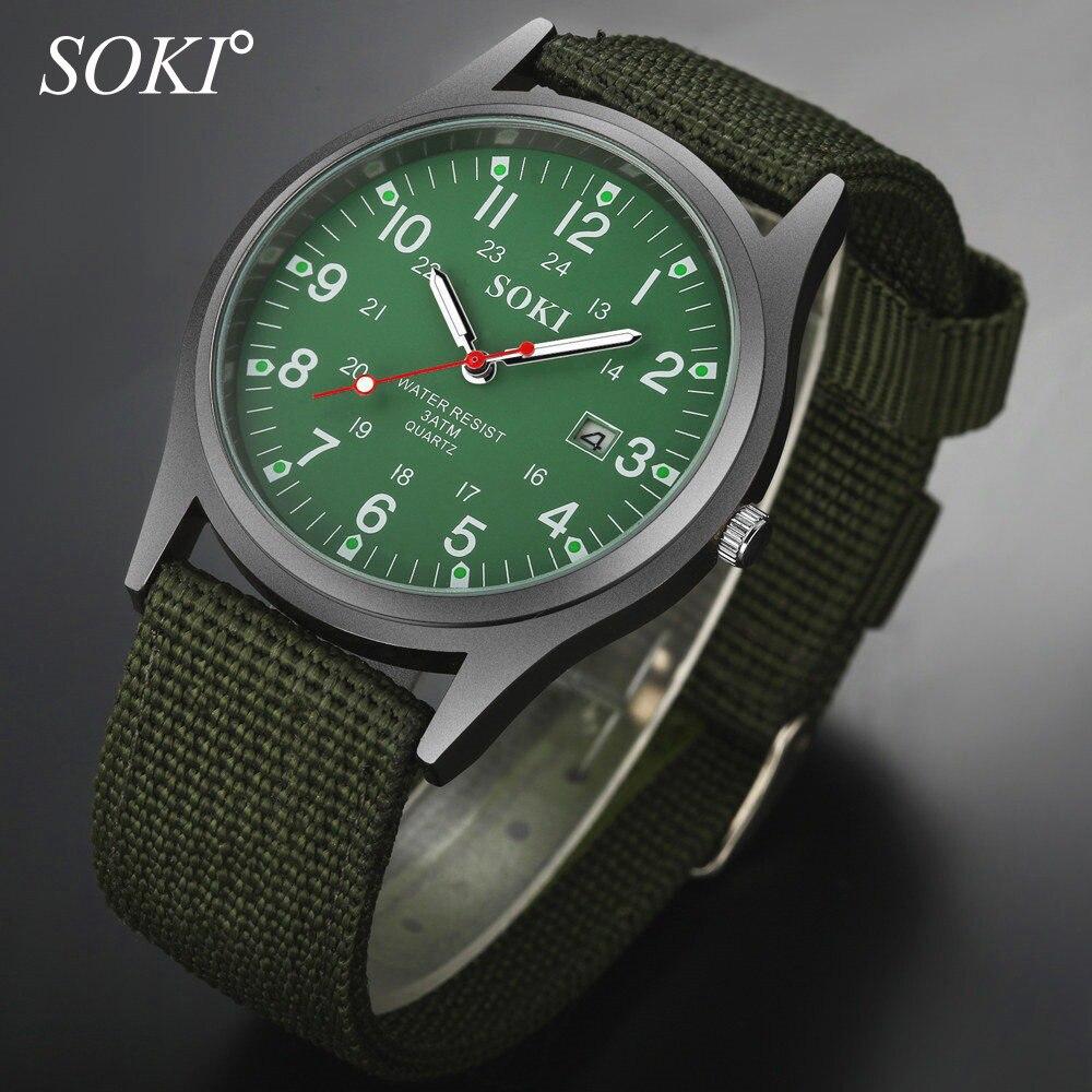 Luminous Retro Men's Watch Luxury SOKI Brand Sports Calendar Date Male Leather Modern Gift Quartz WristWatches Relogio Masculino