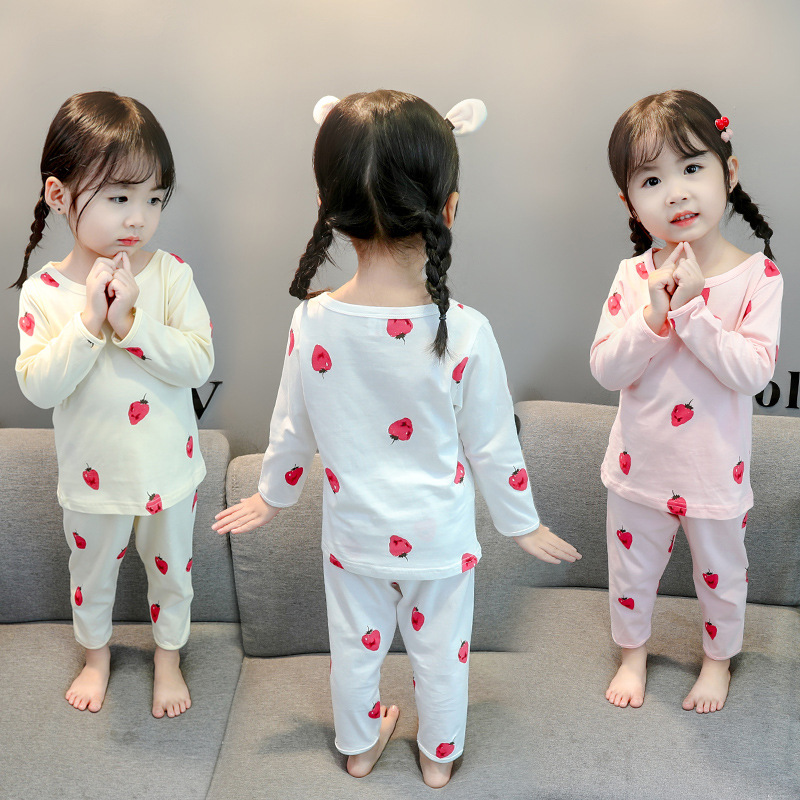 Girls Strawberry Underwear Suit 2019 Autumn New Style Childrenswear Korean-style GIRL'S Long Sleeve Pajamas Piece Tracksuit