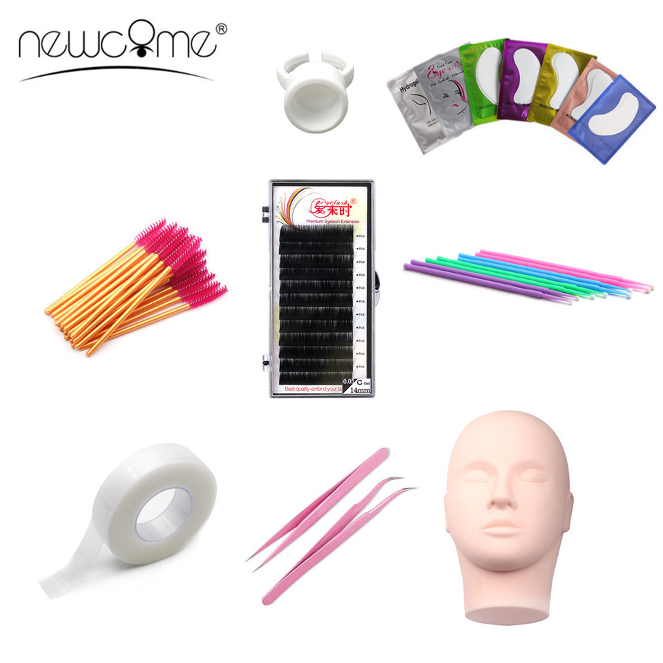 NEWCOME Professional Individual Eyelash Extension Training Kit Practice Mannequin Head Set False Eyelash Grafting Makeup Tools