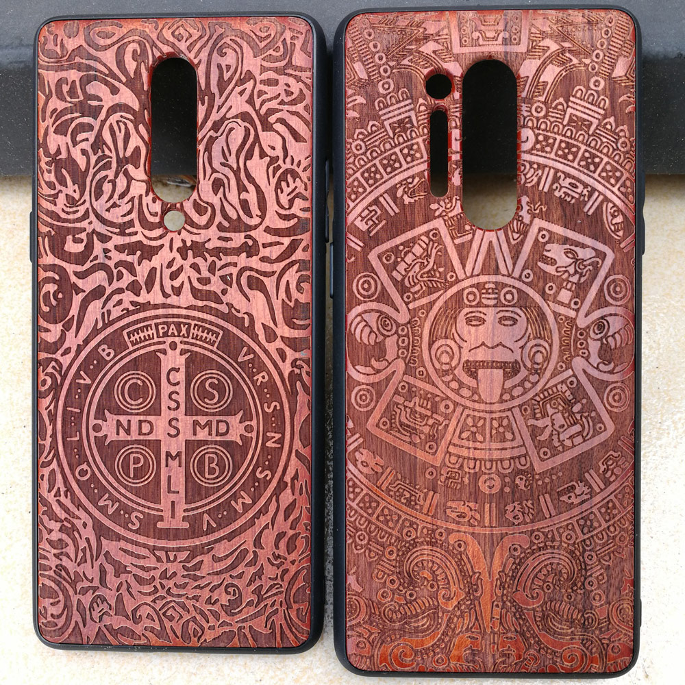 3D Carved Wood Cartoon Bear Case For Oneplus 8 Pro Dragon Lion Wolf Tiger Tree wooden carve Cover 1+8 Pro(China)