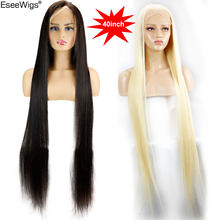 Eseewigs 28 30 32 34 36 38 40 42 inch Long Brazilian Virgin Human Hair Full Lace Wigs Silk Straight 613 Color for Women 150%(China)