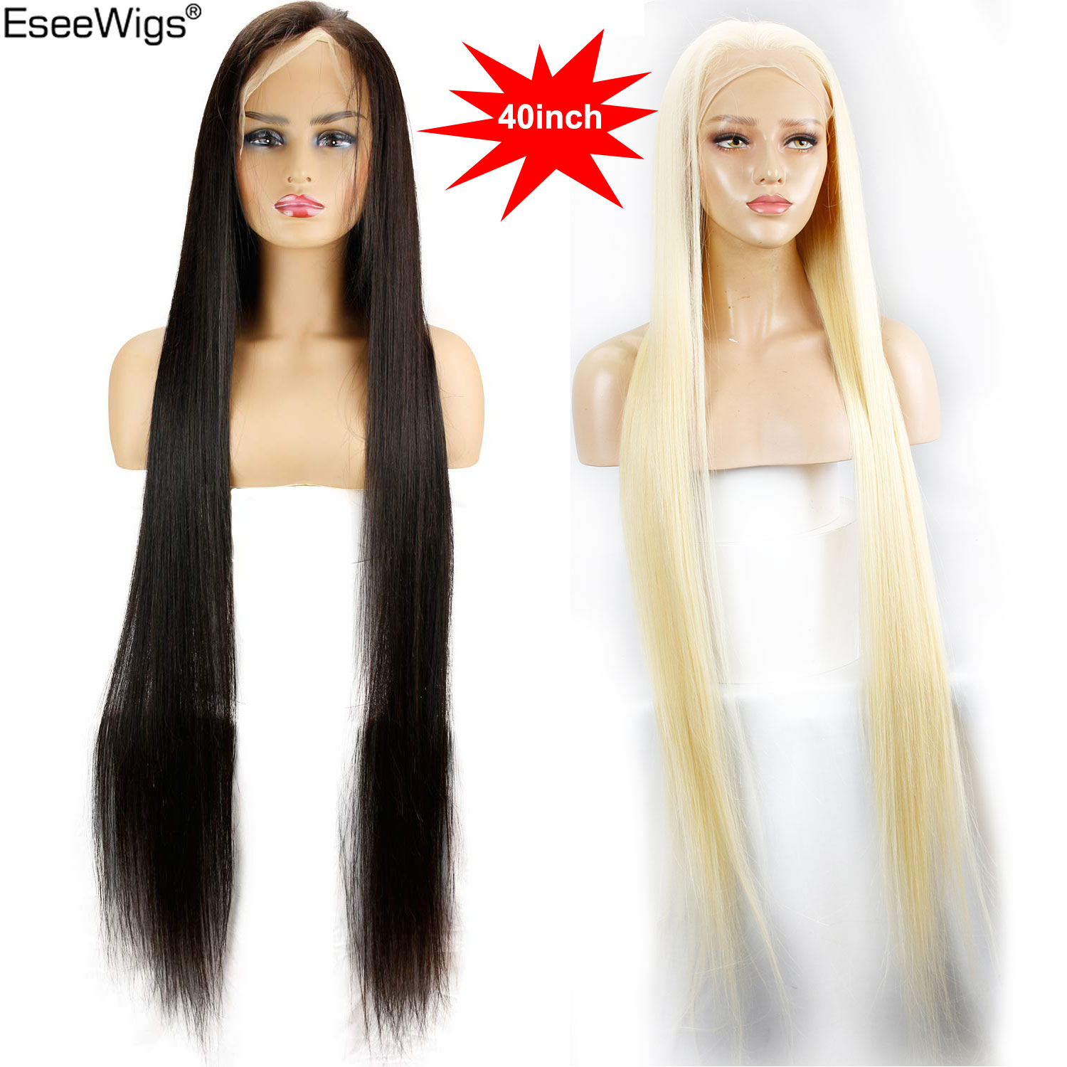 Eseewigs 28 30 32 34 36 38 40 42 inch Long Brazilian Virgin Human Hair Full Lace Wigs Silk Straight 613 Color for Women 150% image