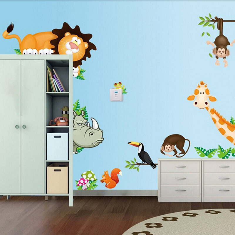 Cute Animal Live in Your Home DIY Wall Stickers Jungle Forest Theme Wallpaper Gifts for Kids Room Decor Sticker Home Decor