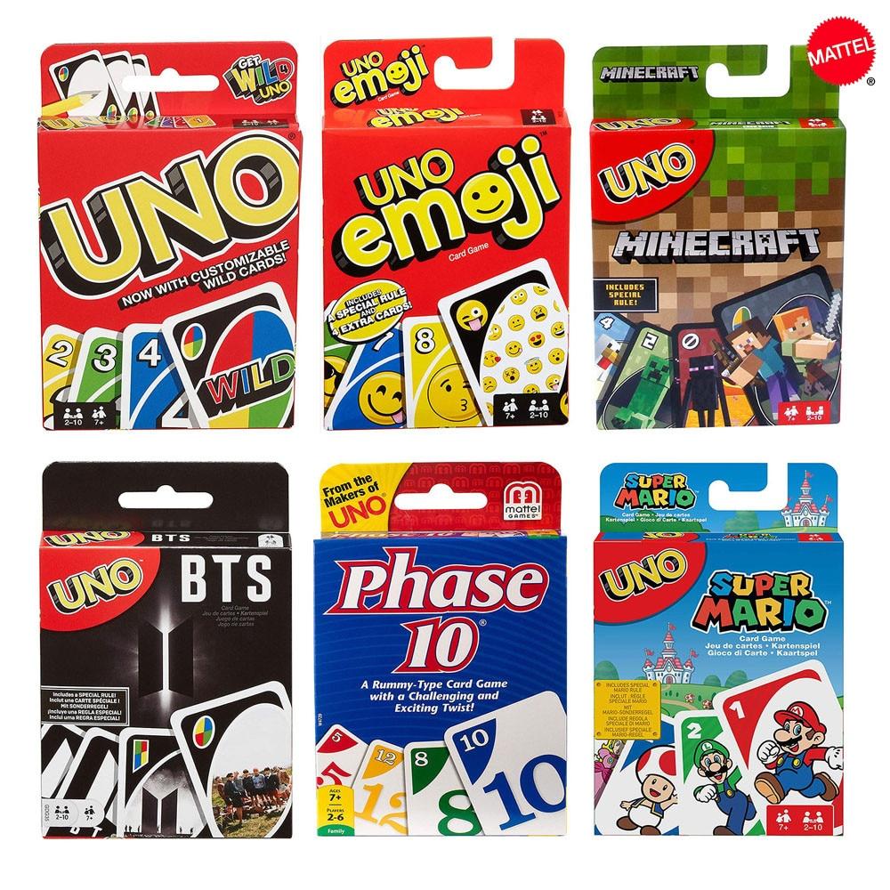 Mattel Games UNO карточная игра серия семейная Вечеринка забавная настольная Классическая игра забавные покерные игральные карты детские игрушки
