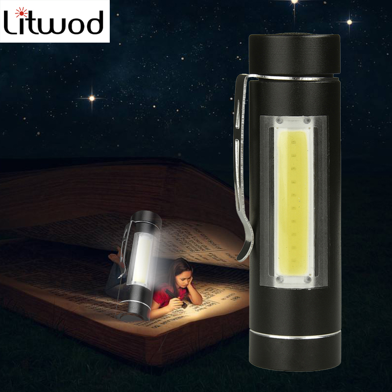 Litwod Z90+ LED COB MINI Flashlight Torch LED 1 Mode Use 14500 Or AA Battery For Reading Camping Working Lantern