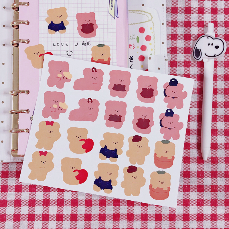 Купить с кэшбэком Cartoon Candy Bear Waterproof Sticker Lovely Envelope Sealing DIY Handmade Sticker School Stationery Office Custom Supplies