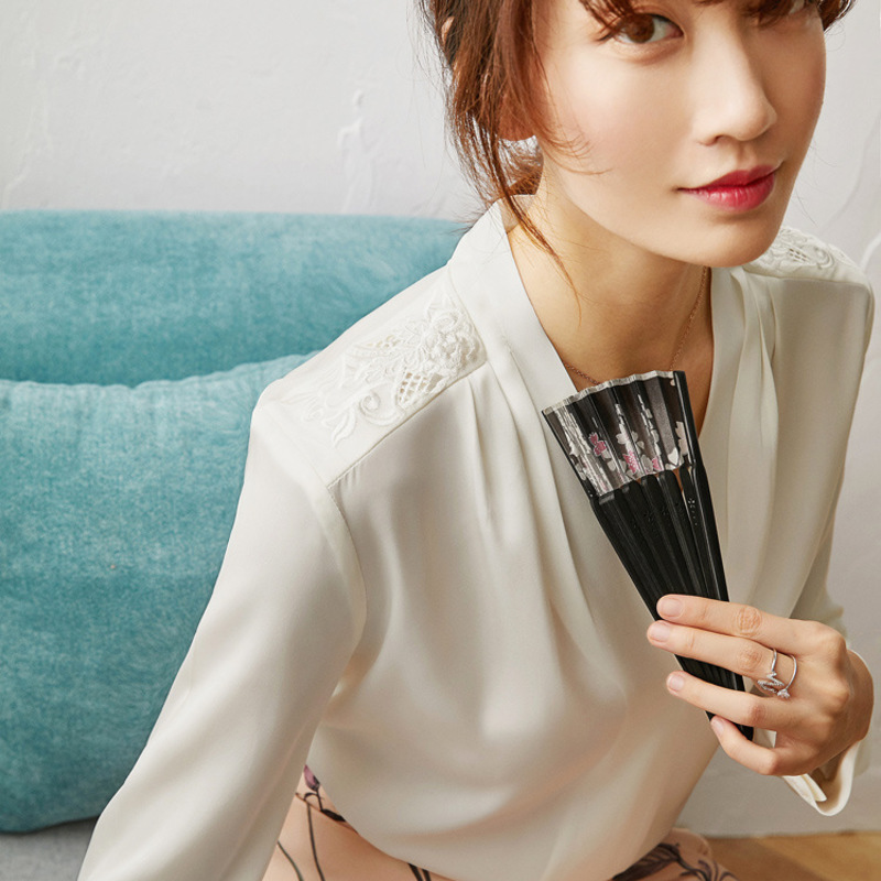 New Embroidered Chinese style women s top heavyweight silk shirt spring long sleeve - 2