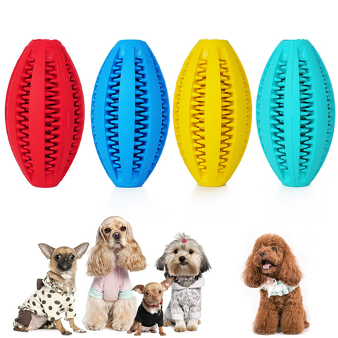 1pcs dog chew toys puppy toys Cleaning Teeth Ball Rubber Natural Chewing Bite Ball Food Leaking Interactive Elasticity Ball Pakistan