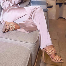 Women Sandals Women Shoes High Heels Weave Band Leather Slippers Thin Heel Summer Shoes Fashion Pumps Open Toe Sexy Woman Sandal цена 2017