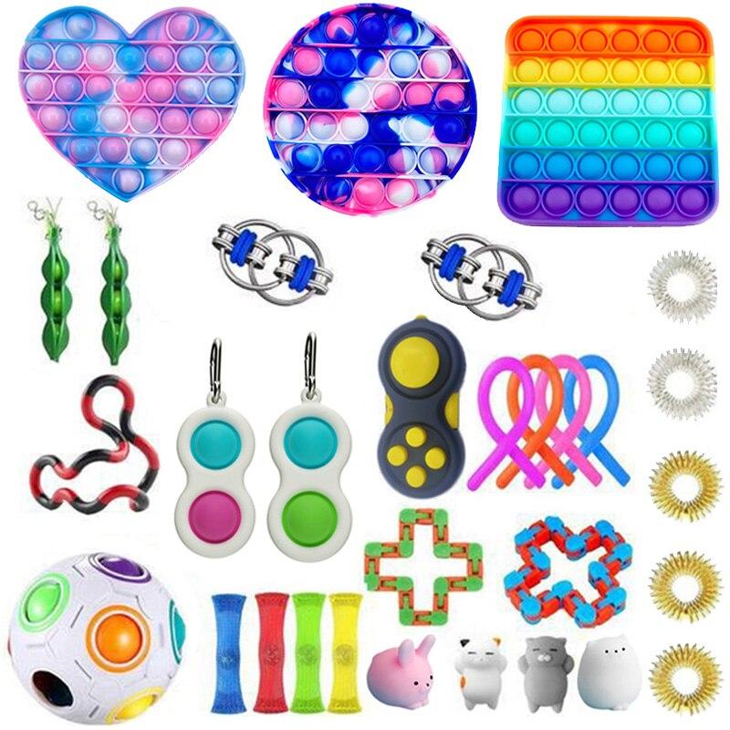 Ensemble de jouets Anti-Stress Pop it Box, cordes de soulagement du marbre, cadeau pour adultes et enfants