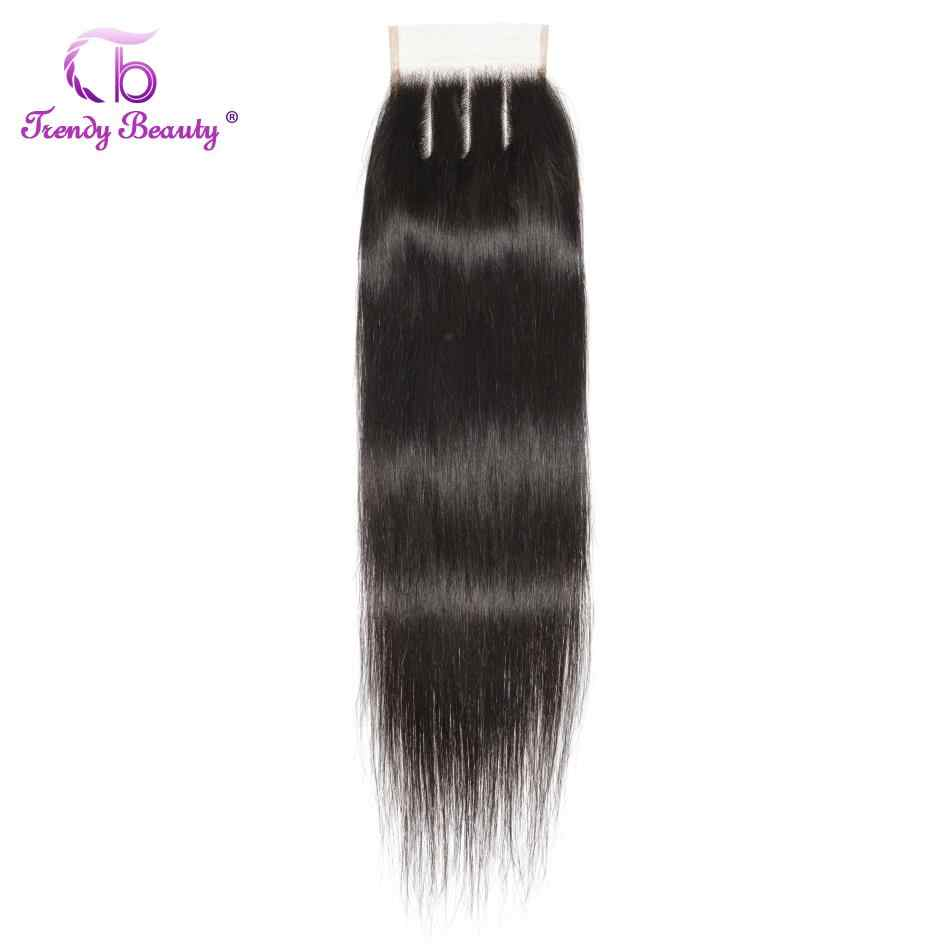 Peruvian Straight Lace Closure Human Hair Middle/Three/Free Part 4x4 Remy Closure Can Be Dyed 8-22 Inches Trendy Beauty