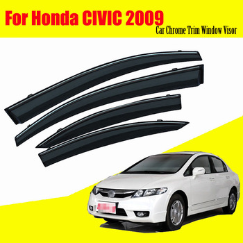 For Honda Civic 2009 Car Sun Window Visor Rain Guard Vent Shade Accessories 4Pcs