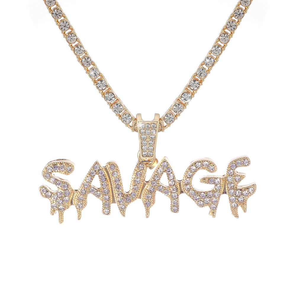 Bling Bling Savage Letter Necklace & Pendant Shiny Ice Out Link Chain...