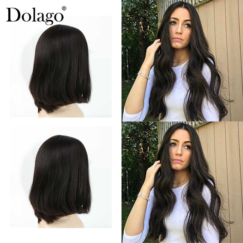 European Virgin Hair Wig Kosher Jewish Wig Lace Front Human Hair Wigs With Baby Hair Silk Base Double Drawn Dolago