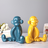 Modern Nordic children's lovely balloon monkey Resin sculpture Household creative abstract ornament home decoration feng shui