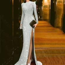 Новое поступление, блестящая ткань, сексуальная облегающая, с длинными рукавами, длина до пола, плиссированная для ковровой дорожки, строгие платья знаменитостей