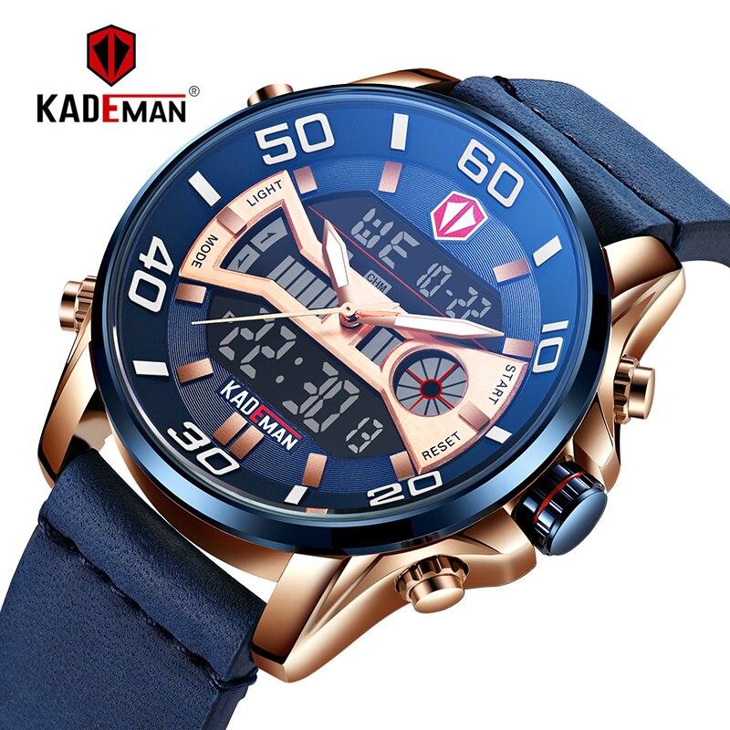 KADEMAN Herren Sport Uhr Luxus TOP Marke Dual Display uhr Fashion LED Digital Armbanduhr Wasserdicht Männlichen Casual Leder K6171