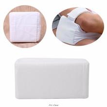 Coussin de genou en mousse blanche, 1 pièce, avec sangle amovible réglable, bouchon d'oreille pour dormir, protection du genou, haute qualité