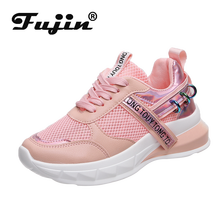 Fujin Sneakers Women Spring Mesh Dropshipping Fashion Flat Bottom Breathable Leisure Muffin Mixed Color Shoes