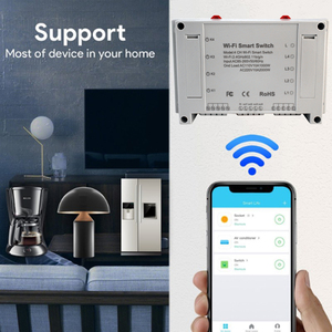 Image 5 - 4CH Smart Wifi Switch Wifi Light Switch 4 Gang 3 Working Modes Inching Interlock Smart Home With Alexa For Home Automaion Tuya