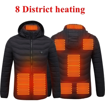 2020 USB Electric Heating Parkas Warm 2/4/8 Zone Heating Plate Outdoor Thermal Parka Coat Winter Hoo