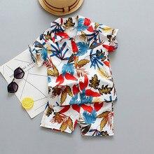 Summer Boy Girl Floral Beach Shirt Pants Outfit Set