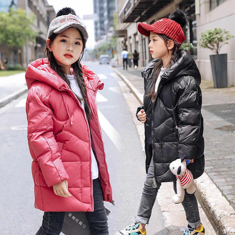 2019 dziewczyny zima ciepły biały puch kaczy kurtki dla dzieci odzież dla dzieci wodoodporne ubrania z kapturem długi-30 stopni płaszcze dla dzieci parka