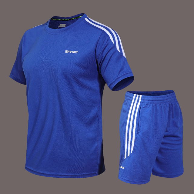 Mens Tracksuits Set 2020 Summer Men Shorts Sets New Sportswear Short-Sleeved Shirts +Shorts Casual Outwear Man Sport Sweat Suits 1