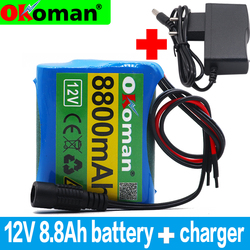 original protection plate 12v battery pack 12V 8800mAh 18650 lithium ion DC12.6V super rechargeable battery + 1A charger