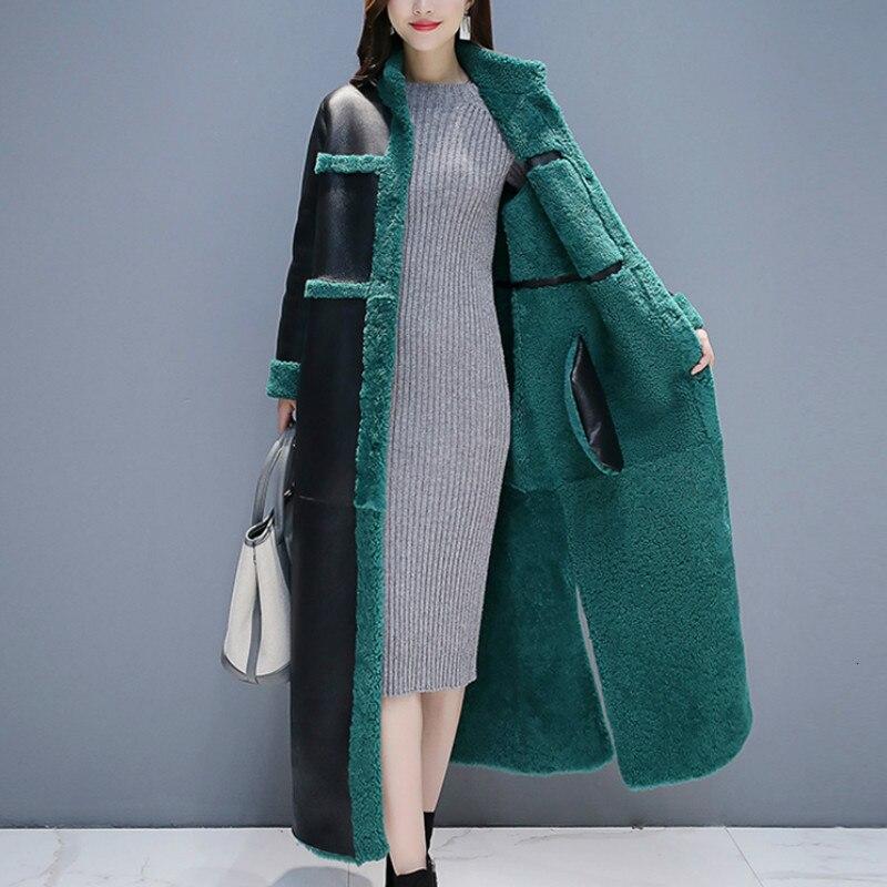Искусственный 2019 мех в одном пальто из овечьего меха X long пальто женское двухстороннее утепленное пальто плюс размер зимняя куртка Женские топы L012 - 3