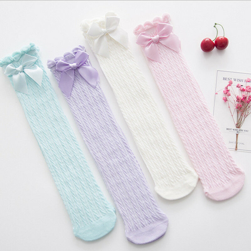 Toddler Kid Baby Girl Knee High Long Socks Bow Cotton Casual Stockings 28cm 38cm
